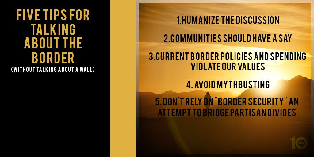 An image of the US-Mexico border at sunset with the 5 tips for talking about the border