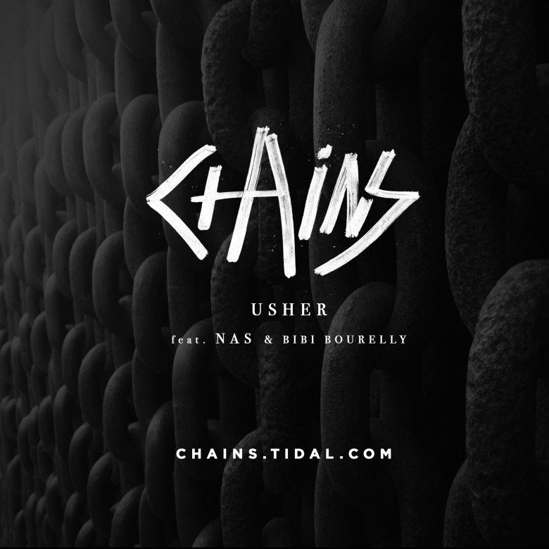 Promotional flyer for Usher's song Chains that links to the video on Tidal