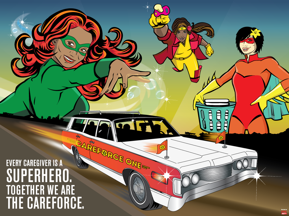 A promotional image for Careforce One Travelogues depicting caretakers as superheroes