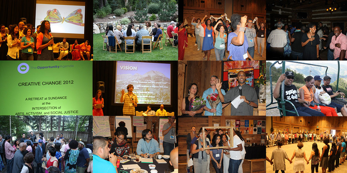 Photo collage of the 2012 Creative Change Retreat