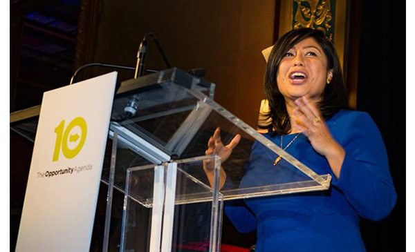 A photo of MacArthur Genius Grant awardee Cristina Jiménez, Executive Director of United We Dream speaking at the 2017 Creative Change Awards