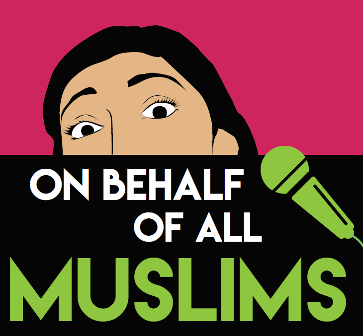 Cartoon image of a Muslim person with the text On Behalf of All Muslims and a microphone indicating that it is a podcast