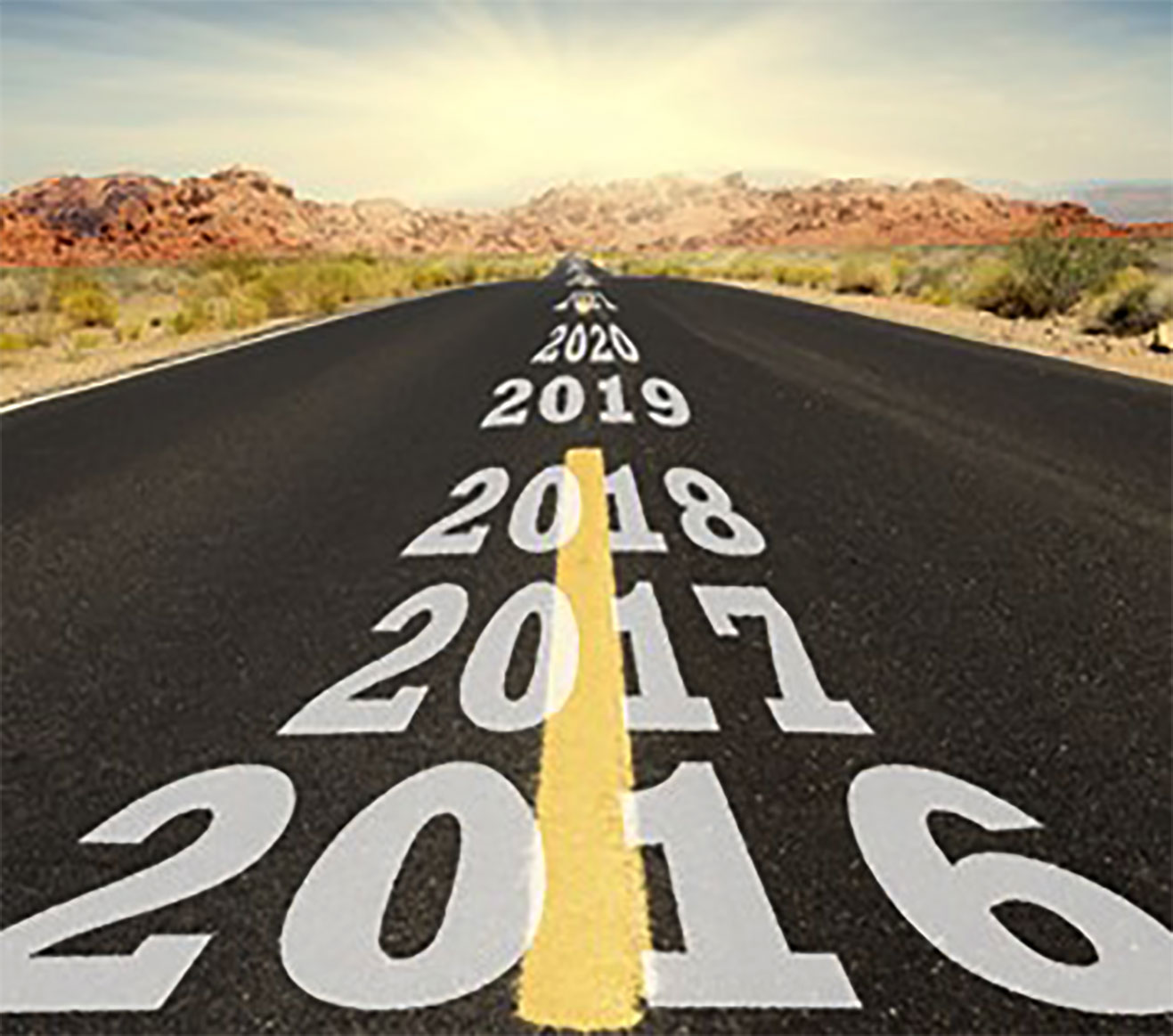Image of a road with the years 2017 2018 2019