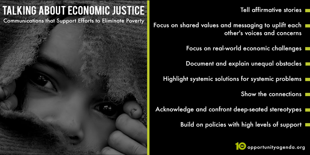 A graphic of the tips for talking about economic justice