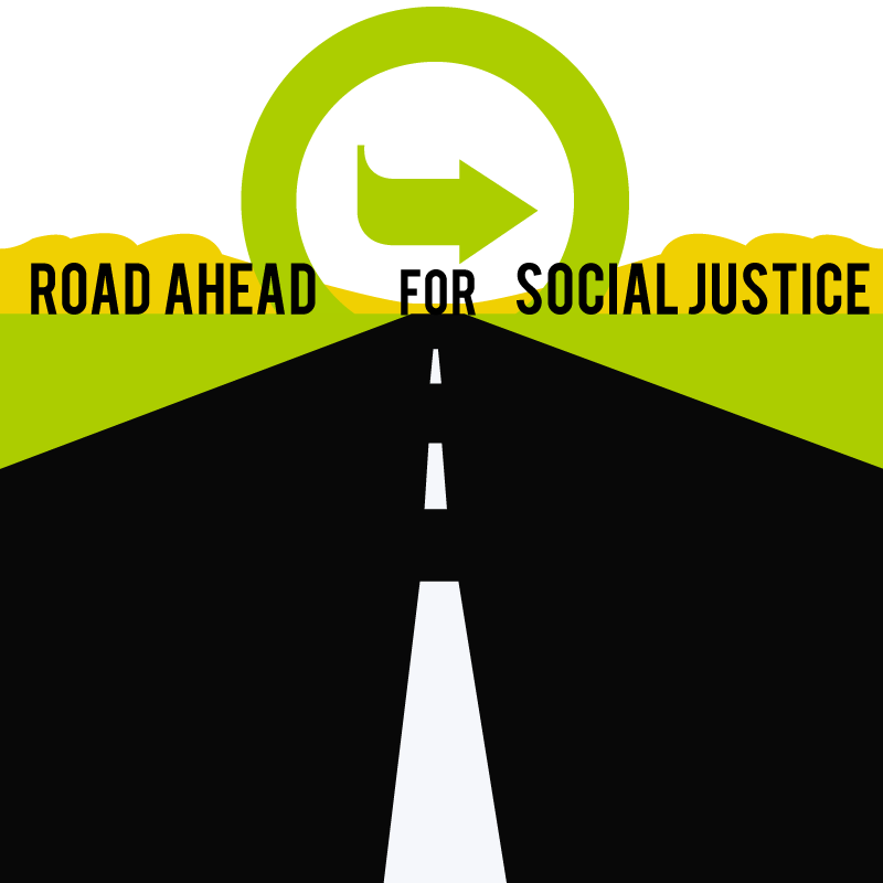 "Drawing of a road and the horizon reads ""road ahead for social justice."" The Opportunity Agenda logo is the sun."